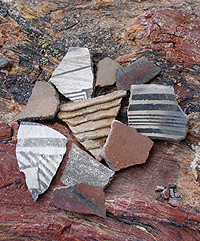 Pottery shards from clay fired pots indicate an increased reliance on agriculture for the early people of this area..